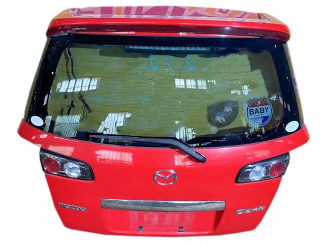 Крышка багажника красная в сборе со стеклом, спойлер, стеклоочиститель, фонари (Б/У) для MAZDA DEMIO DY 2002-2007