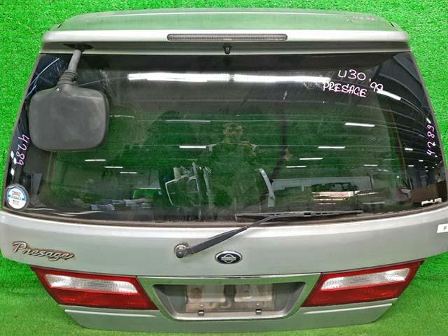 Крышка багажника серебро в сборе со стеклом, спойлер, стеклоочиститель, фонари, зеркало (Б/У) для NISSAN PRESAGE I U30 1998-2001