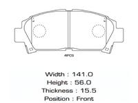 Колодки тормозные передние TOYOTA MR2 W20 1989-2000