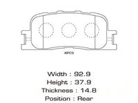 Колодки тормозные задние LEXUS ES IV 300 MCV30 2001-2006