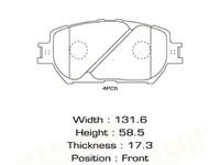 Колодки тормозные передние LEXUS ES IV 300 MCV30 2001-2006