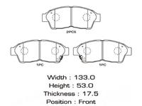 Колодки тормозные передние TOYOTA CALDINA T190 1992-2002