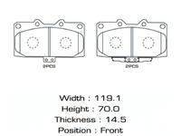 Колодки тормозные передние SUBARU IMPREZA G10 1992,1993,1994,1995,1996,1997,1998,1999,2000