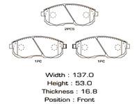 Колодки тормозные передние SUZUKI SX4 CLASSIC EY / GY 2006,2007,2008,2009,2010,2011,2012,2013,2014