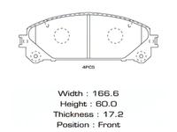 Колодки тормозные передние TOYOTA SIENNA XL30 2010-н.в.