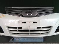 Бампер передний белый с заглушками ПТФ и решеткой (царапины) NISSAN NOTE E11 2009,2010,2011,2012,2013,2014
