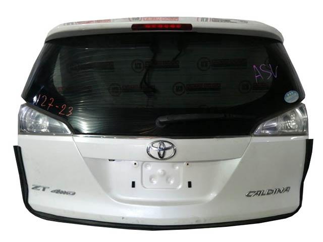 Крышка багажника белая в сборе со стеклом, спойлер, фонари, стеклоочиститель (хорошее состояние) (Б/У) для TOYOTA CALDINA T240 2002-2007