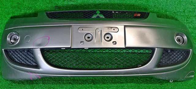 Бампер передний серебро в сборе с ПТФ, решеткой радиатора, нижними решетками, RALLI ART (потертости, замят) (Б/У) для MITSUBISHI COLT PLUS IV Z20 2004-2012