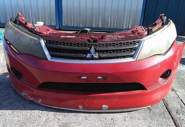 Ноускат красный бампер, радиаторы, суппорт, фары-ксенон, ПТФ, губа, усилитель, решетки, бачок, диффузор (Б/У) для MITSUBISHI OUTLANDER / AIRTREK OUTLANDER XL CW 2007-2010